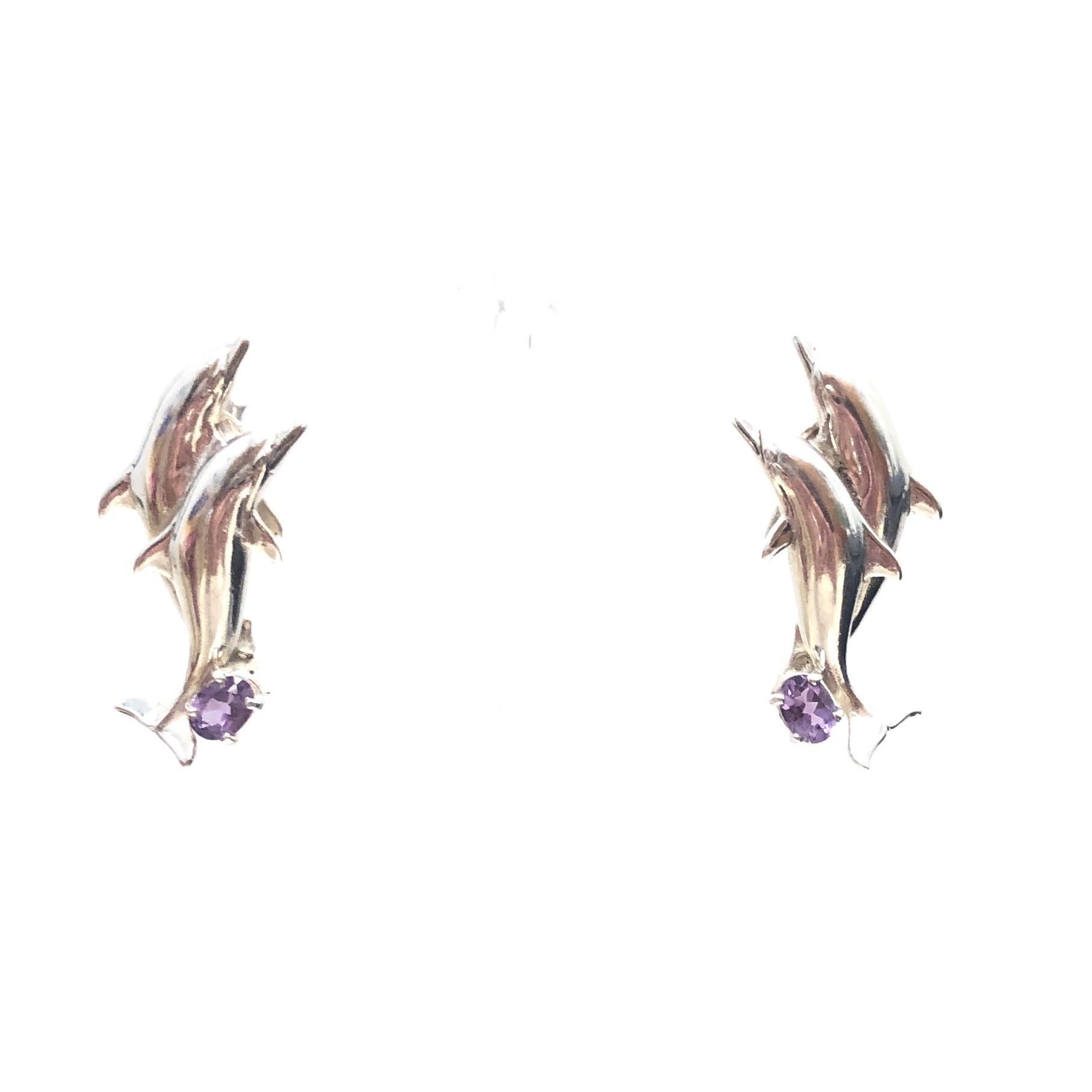 Sterling Amethyst Dolphin Earrings