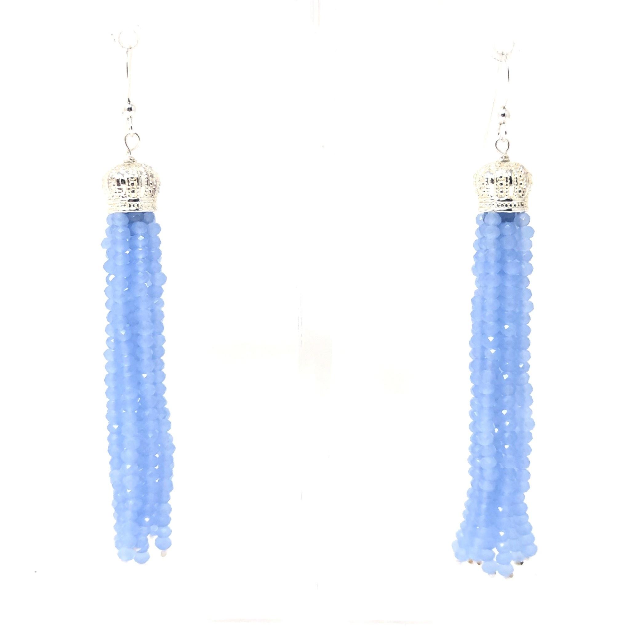 Periwinkle Crystal Tassel Earrings