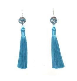 Crystal Ball & Turquoise Tassel Earrings