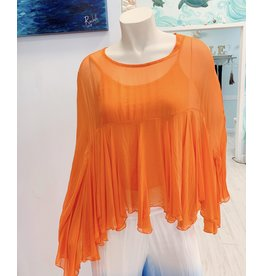 Orange Boho Silk Top