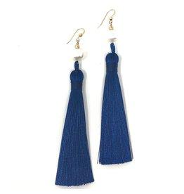Pearl & Navy Tassel Earrings