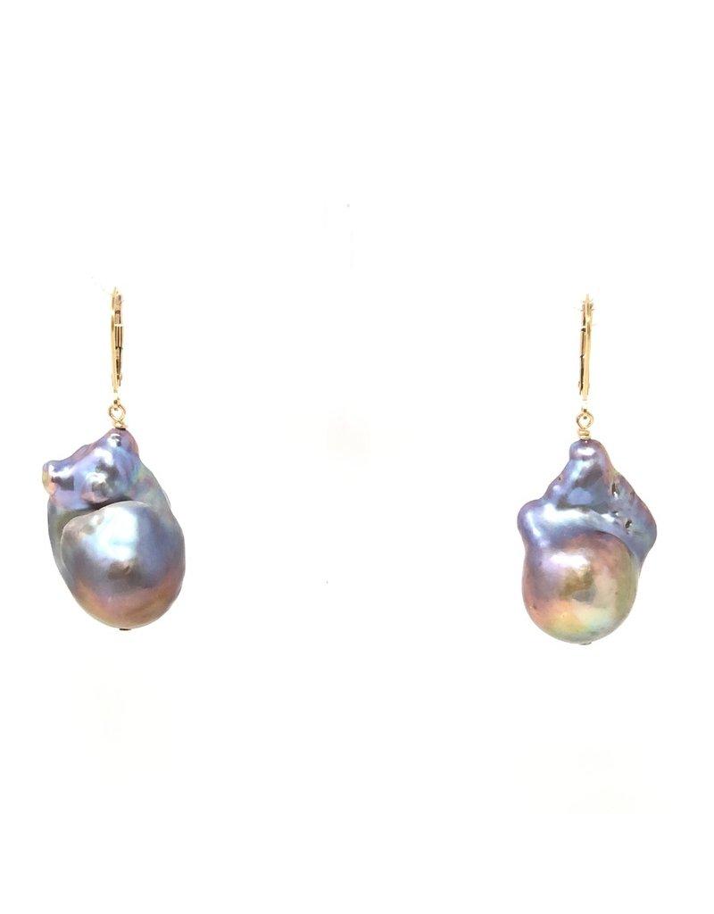 Champagne Baroque Pearl Leverback Earrings