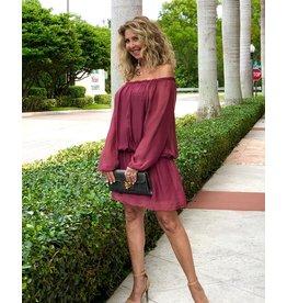 Merlot Silk Mini Dress