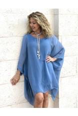 Steel Blue Silk Sleeve Goddess Dress