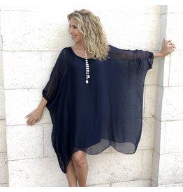 Navy Silk Sleeve Goddess Dress