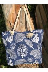 India Boutique Navy Coral Beach Bag
