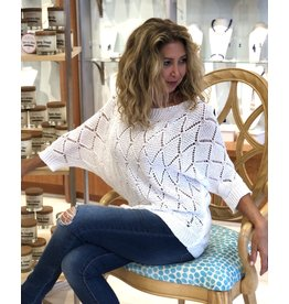 White Crochet Eyelet Sweater
