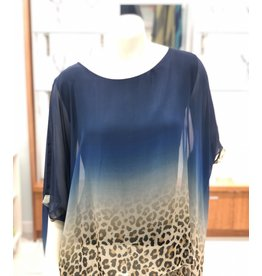 Navy Cheetah Silk Top