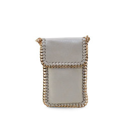 Beige Fold Over Chain Phone Pouch