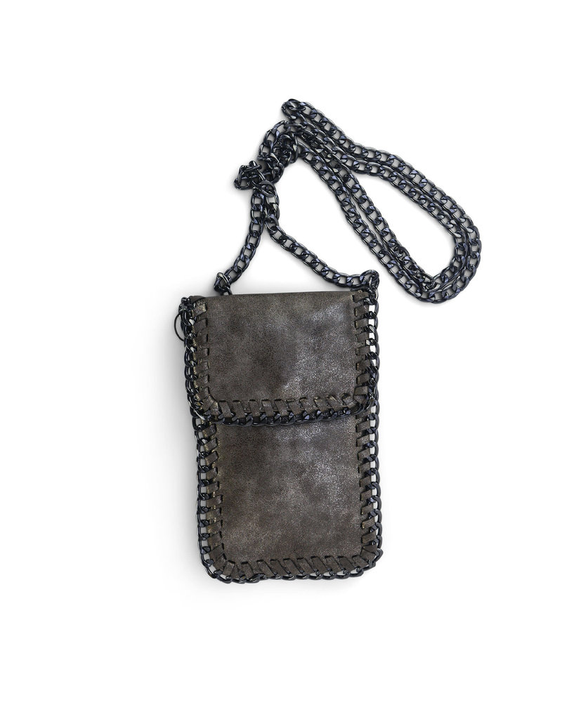 Silver Fold Over Chain Phone Pouch