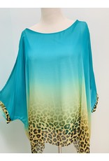 Teal Cheetah Silk Top