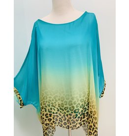 Teal Cheetah Silk Top