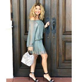 Sage Silk Mini Dress
