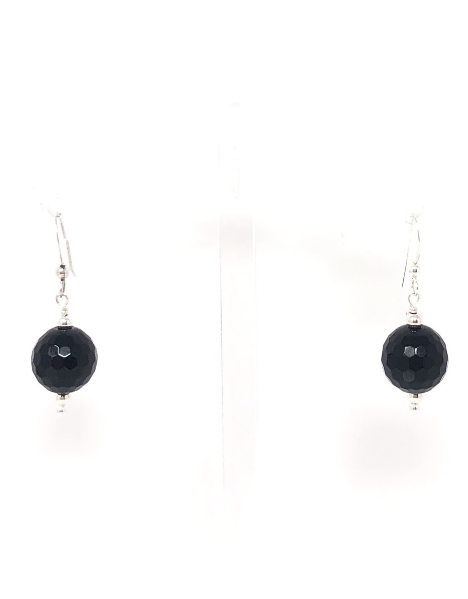 14mm Silver Onyx Earrings