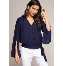Navy Slit Sleeve Top