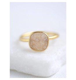 Felix X Square Gold Druzy Ring