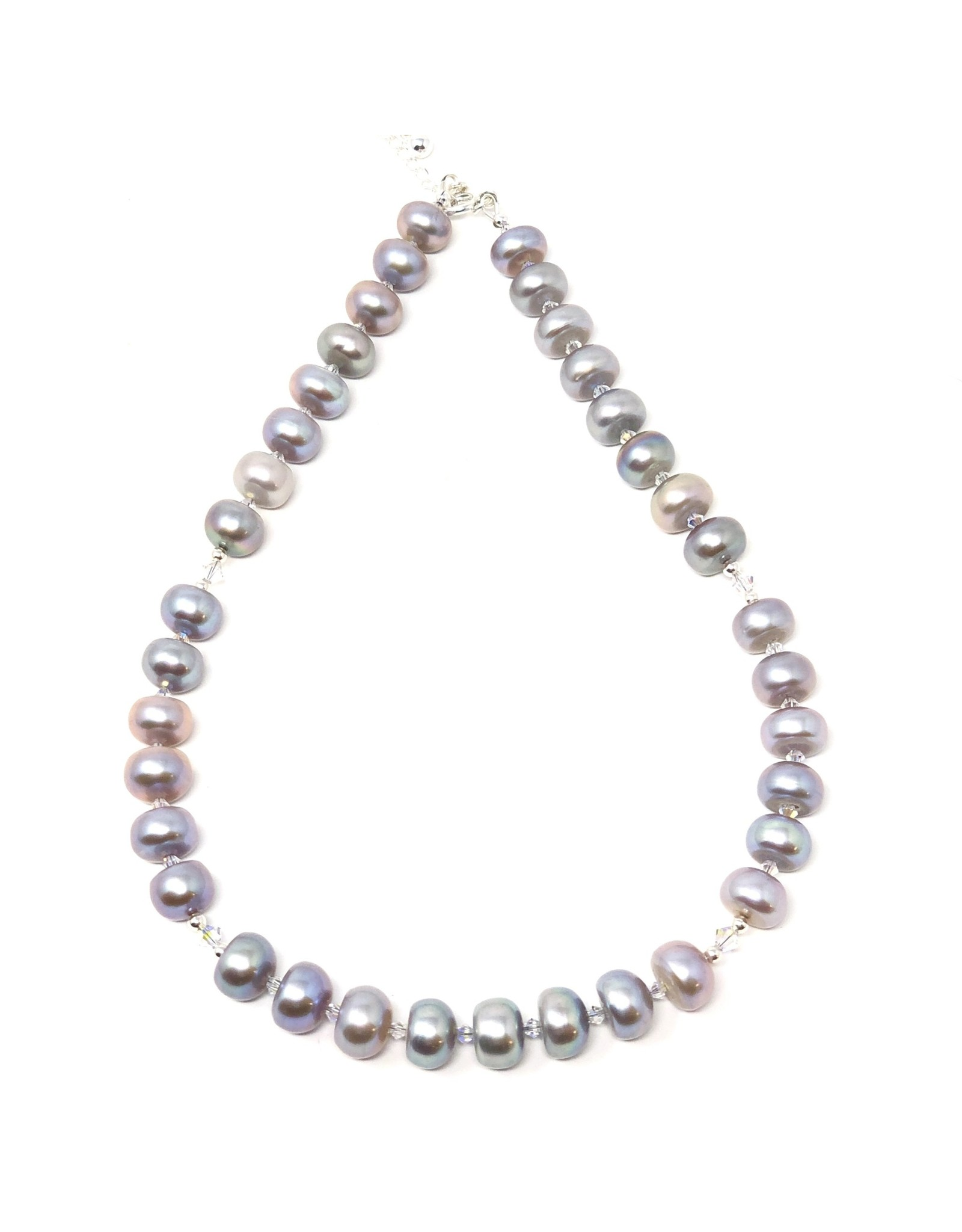 Iridescent Grey Pearl & Swarovski Necklace