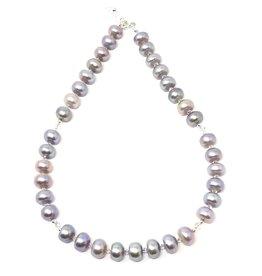 Iridescent Grey Pearl & Swarovski Necklace