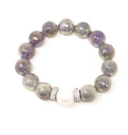 Iridescent Grey Agate & FWP CZ Bracelet