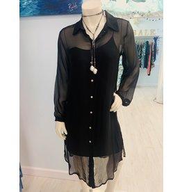 Black Silk Slip Shirt Dress