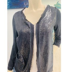 Navy Raw Trim Sequin Cardigan