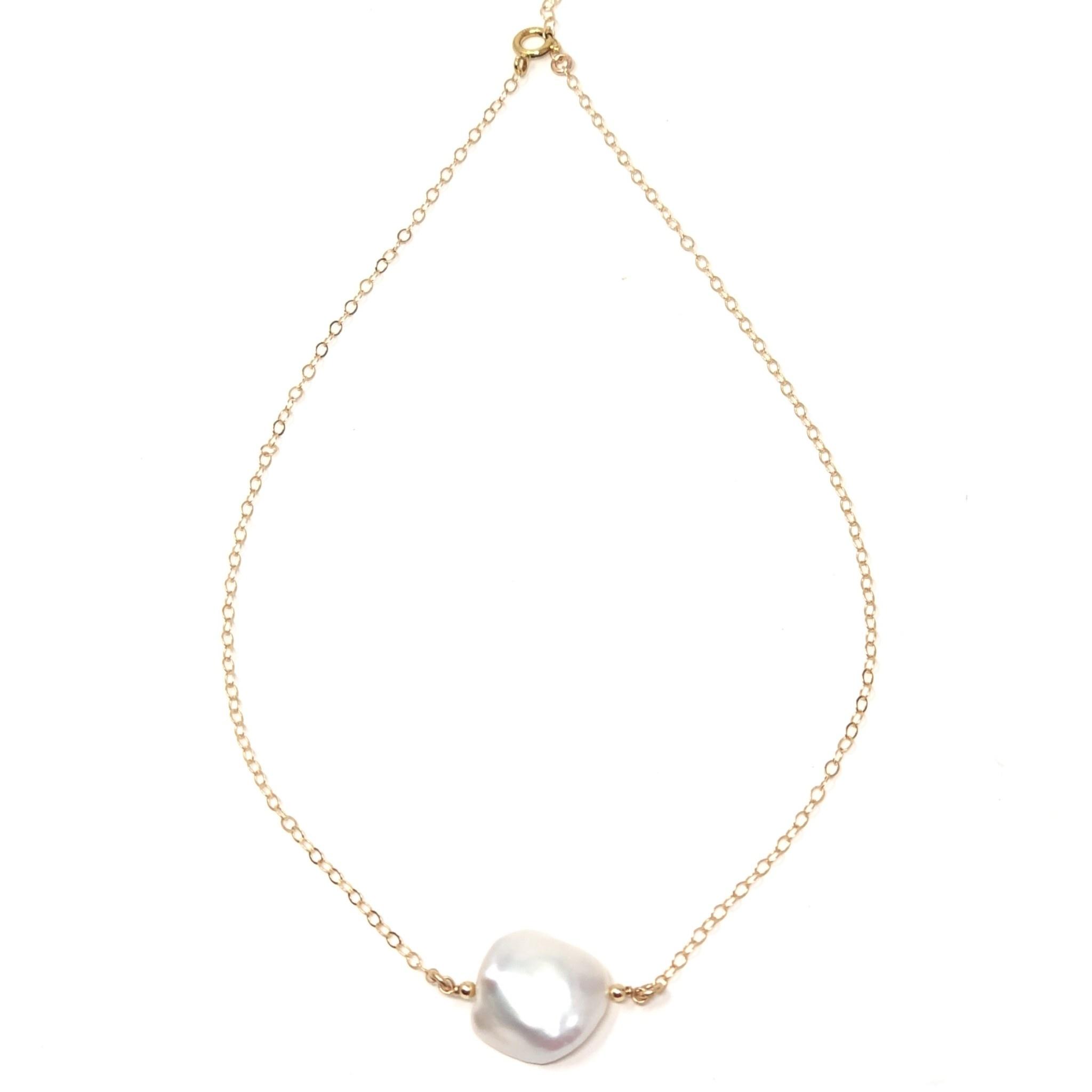 Keshi Petite Pearl on Gold Chain