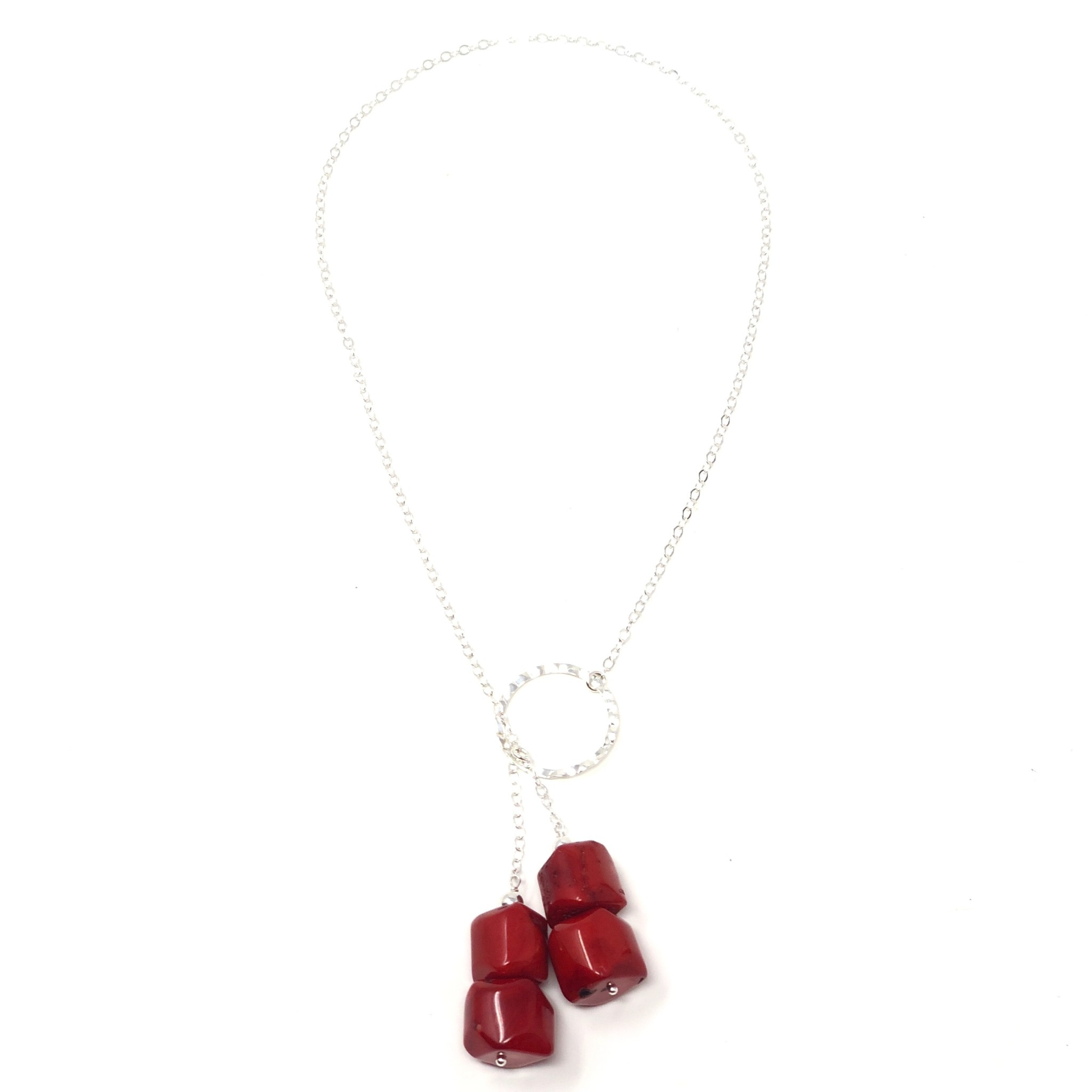 Red Bamboo Coral Silver Lariat