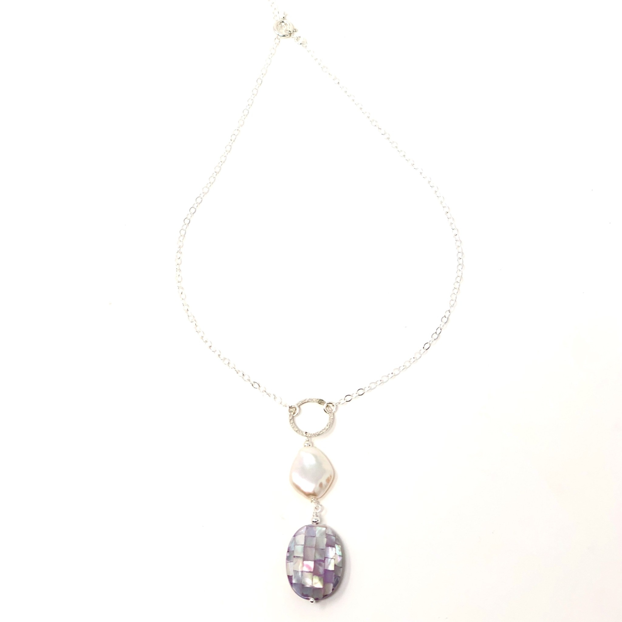 Silver Mosaic MOP & Keshi Pearl Necklace