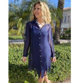 Navy Silk Slip Shirt Dress