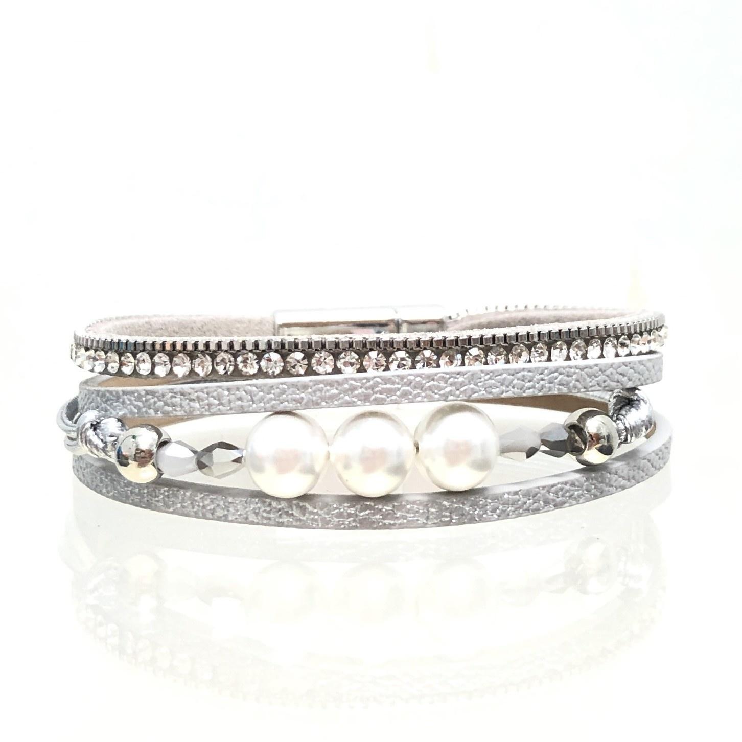 Sunrise USA Trading Silver Narrow Pearl/Crystal Bracelet