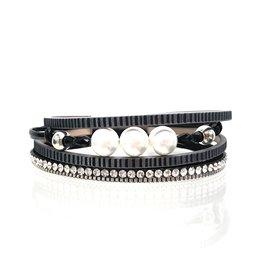 Sunrise USA Trading Black Narrow Pearl/Crystal Bracelet