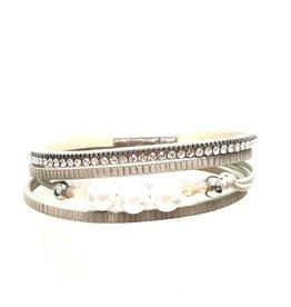 Sunrise USA Trading Beige Narrow Pearl/Crystal Bracelet