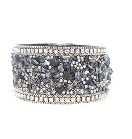 Sunrise USA Trading Black Stone & Crystal Bracelet