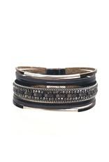 Sunrise USA Trading Black Double Bar Leather Bracelet