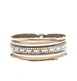 Sunrise USA Trading Beige Double Bar Leather Bracelet