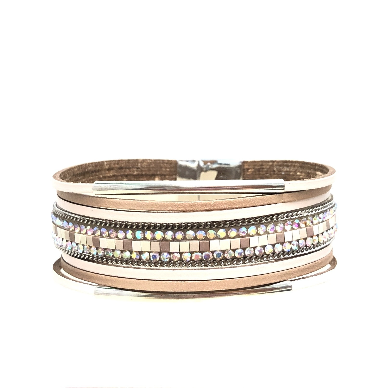 Sunrise USA Trading Beige Double Bar Leather Bracelet