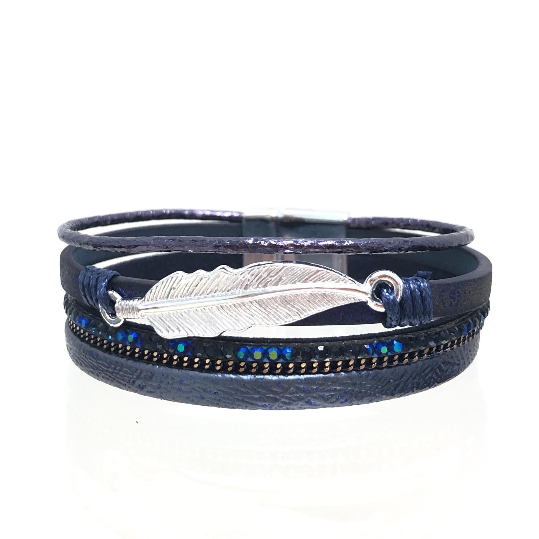 Sunrise USA Trading Navy Feather & Crystal Bracelet