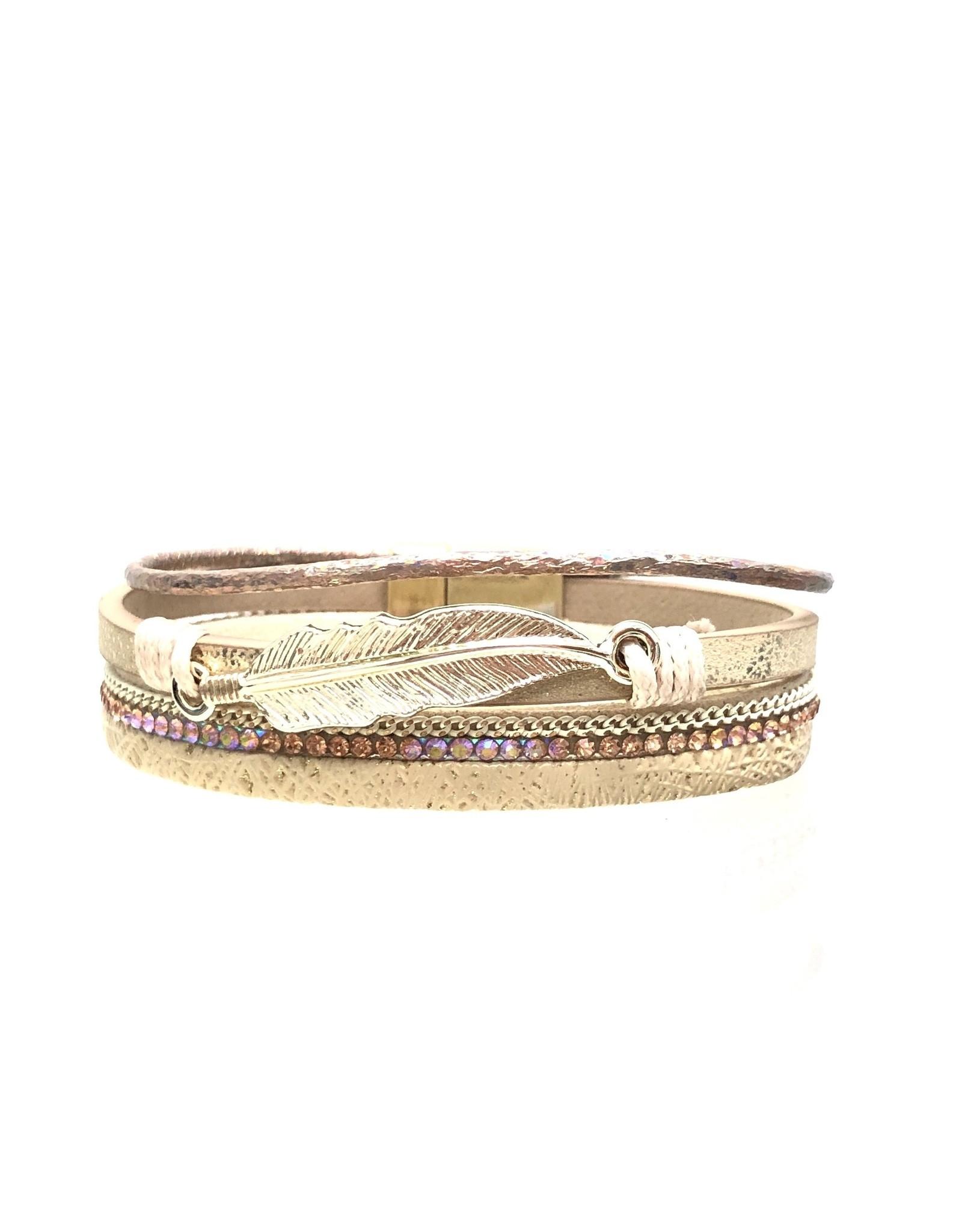 Sunrise USA Trading Gold Feather & Crystal Bracelet