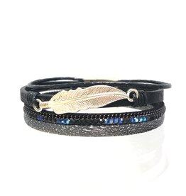 Sunrise USA Trading Black Feather & Crystal Bracelet