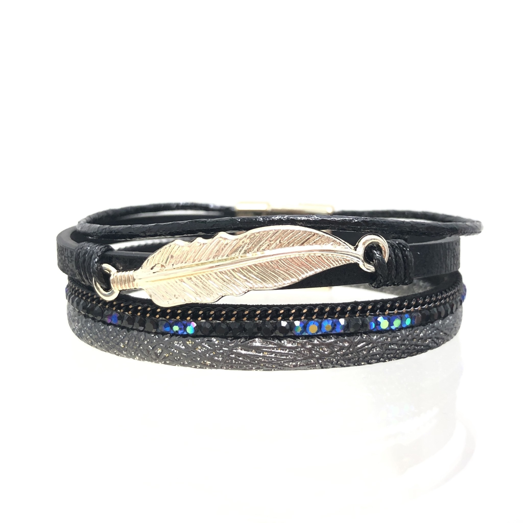 Sunrise USA Trading Black Feather & Crystal Bracelet