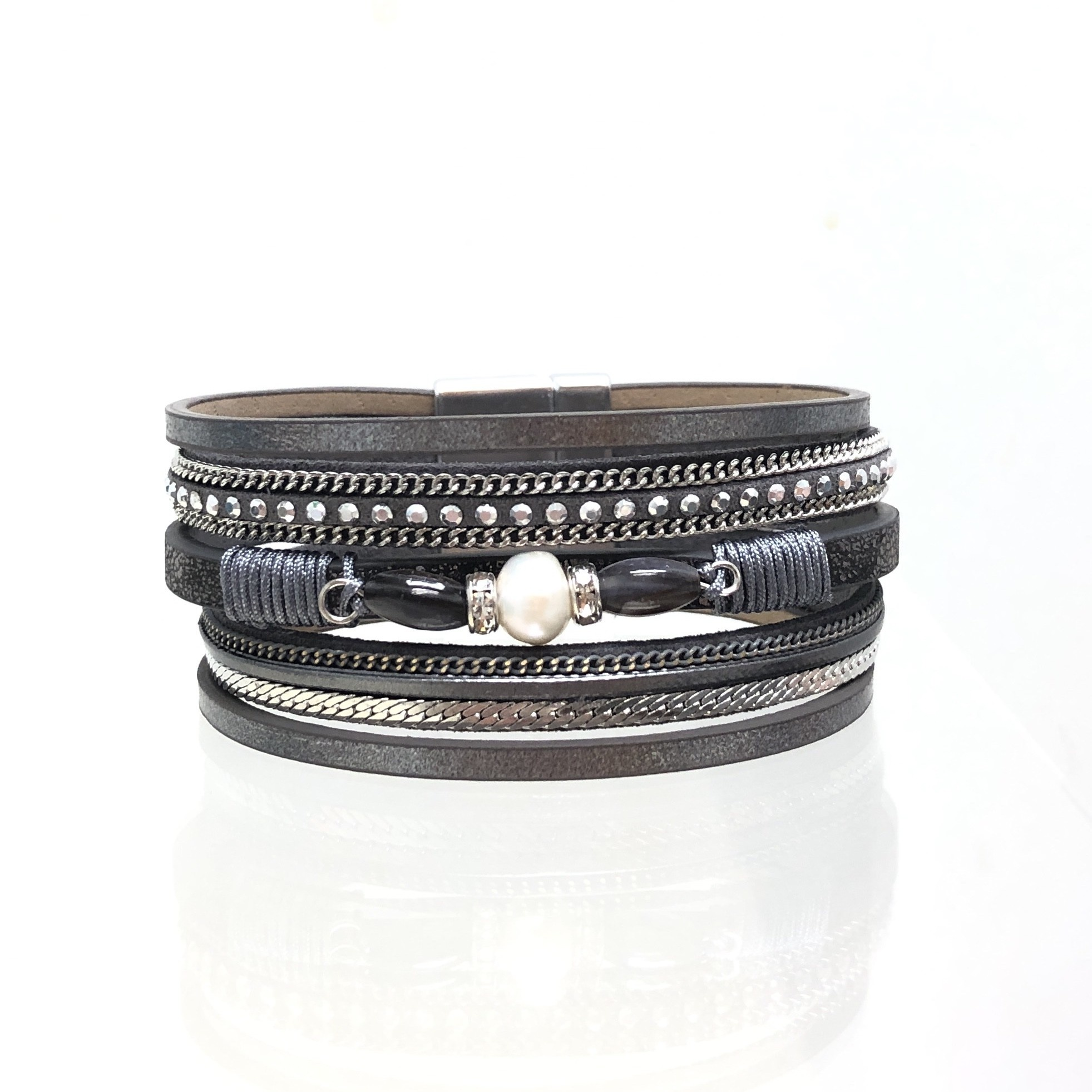 Sunrise USA Trading Grey Center Pearl Bracelet