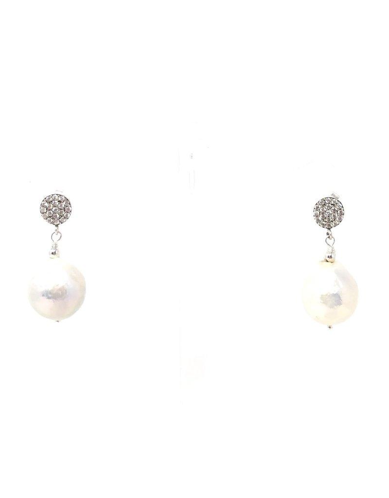 CZ Stud Baroque Peal Earrings