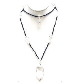 Navy Hematite & Crystal Necklace