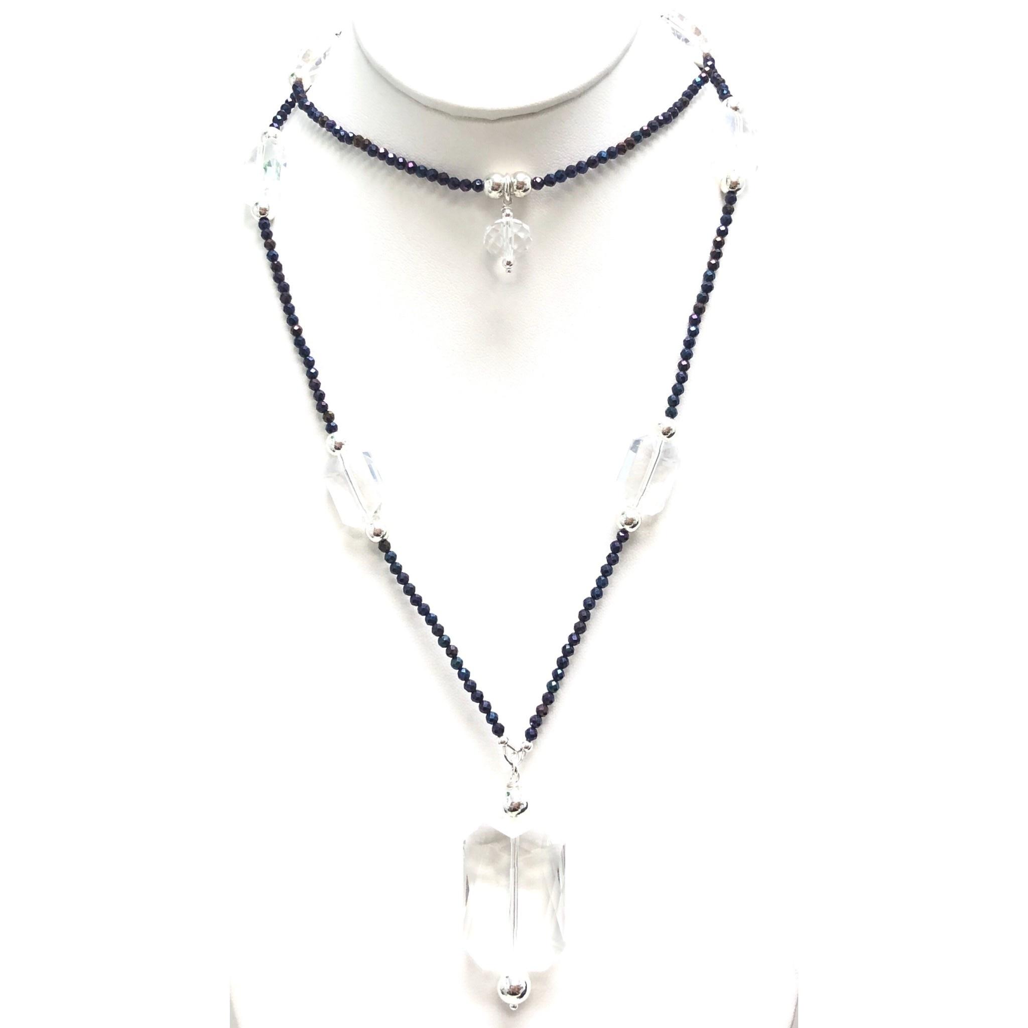 Navy Hematite & Crystal Necklace