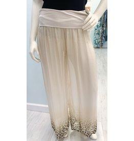 Champagne Cheetah Silk Lined Pants