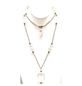 Gold Hematite & Crystal Necklace