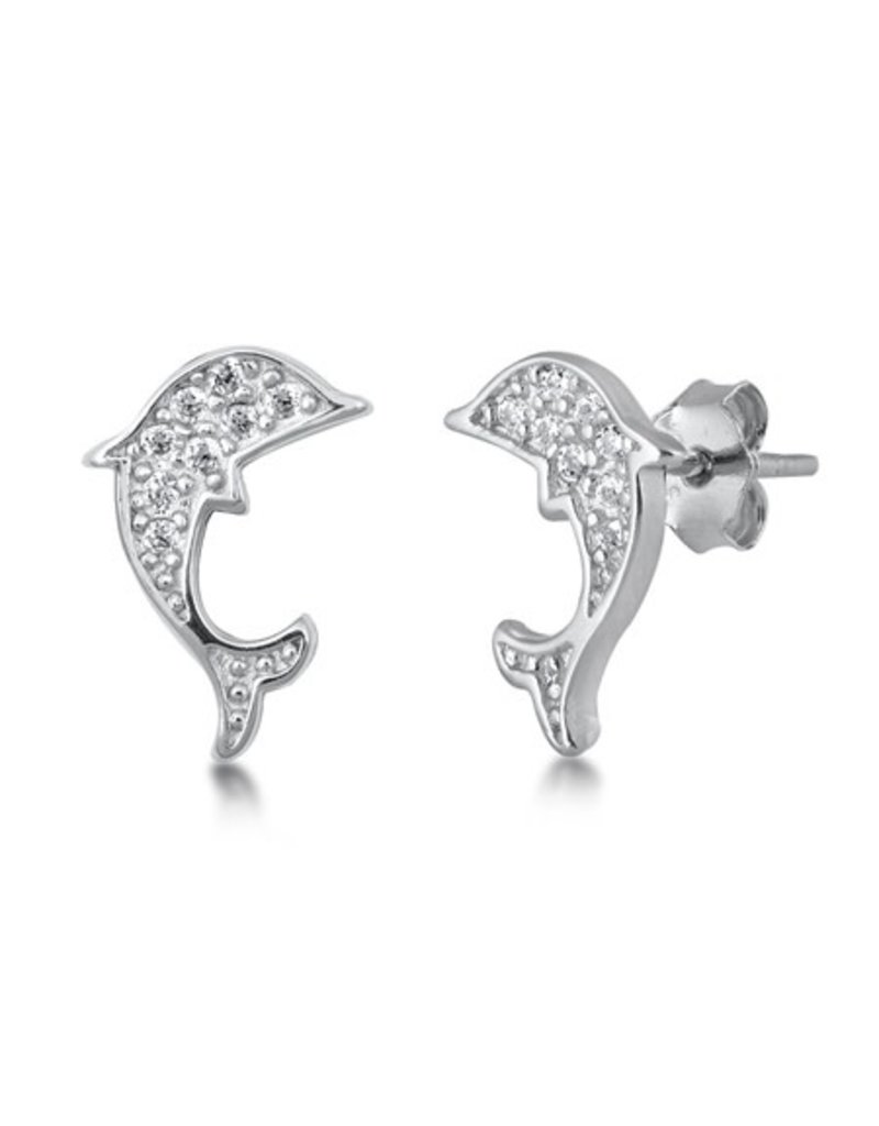 Sterling CZ Dolphin Studs