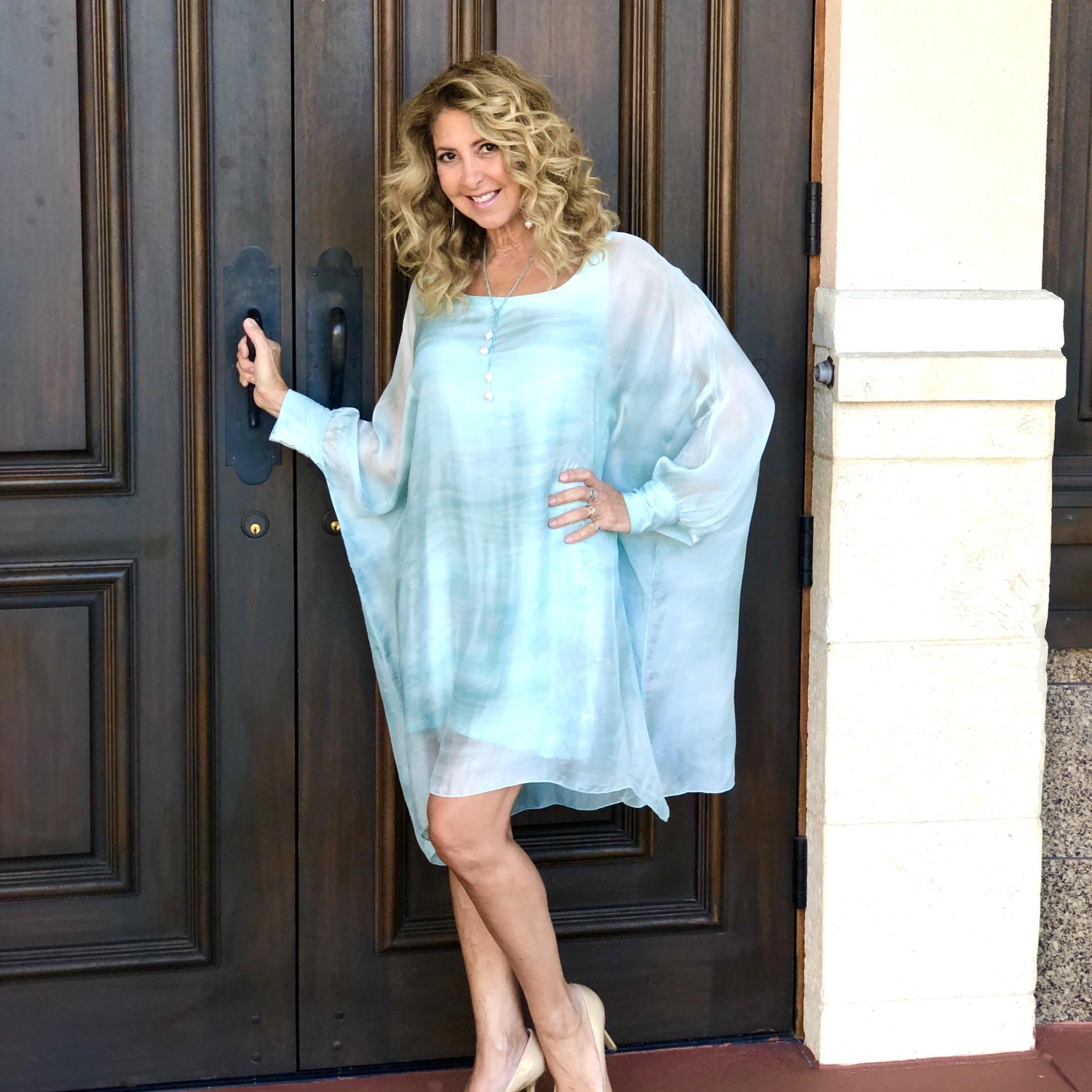 Aquavita Mint Clover Tie Dye Sheer Dress