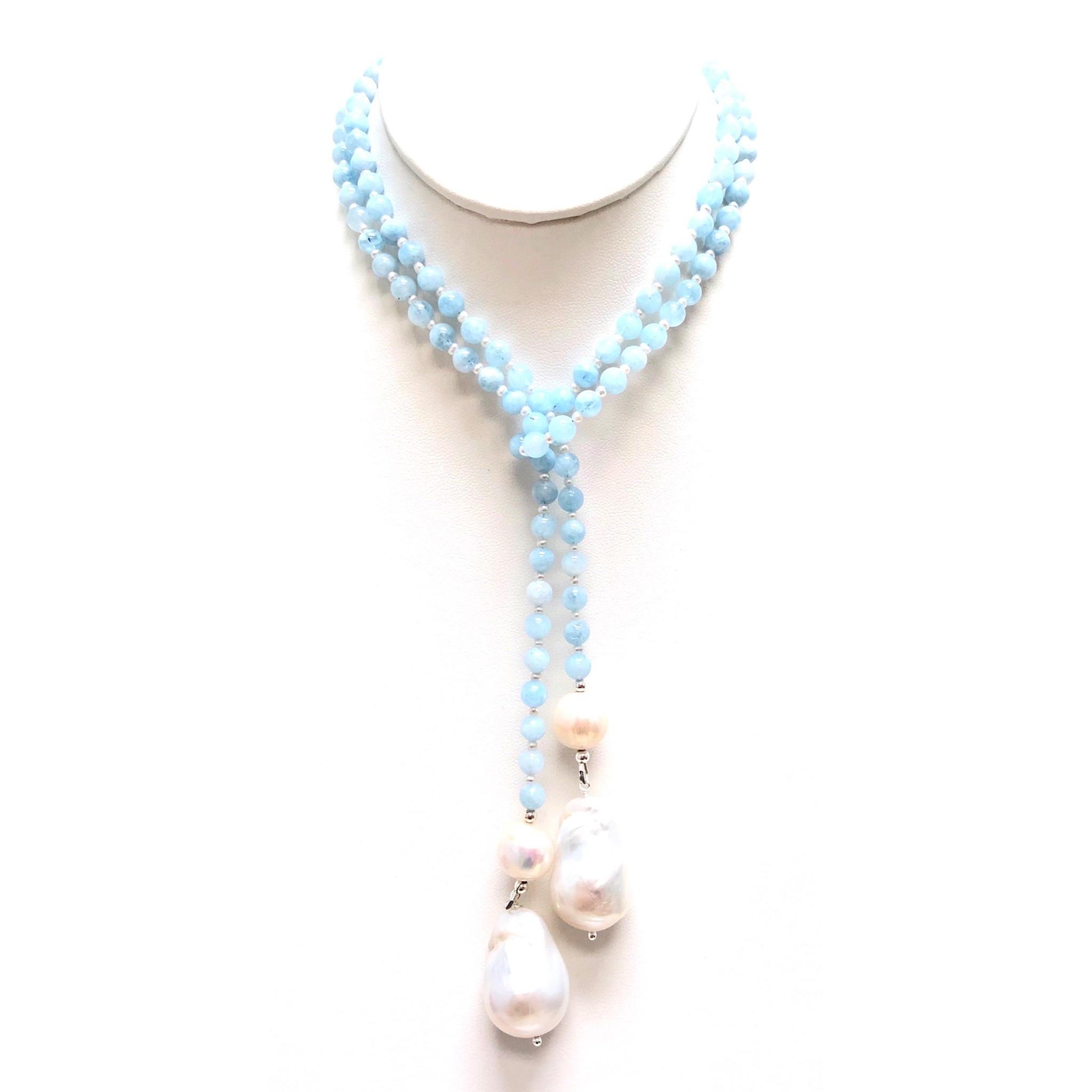 Aquamarine & Baroque Pearl Lariat