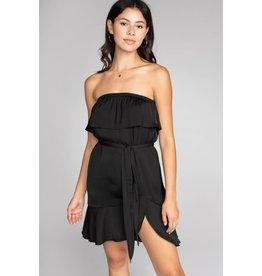 Black Strapless Ruffle Dress